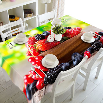 3D Tablecloths Red Strawberry Fruit Printing Waterproof/oil-proof Washable Thicken Rectangle Dining Table Tea Table Cloth-T304