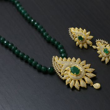 Green CZ Beaded Necklace