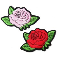 Embroidered Iron-on Rose Patches