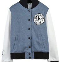 Blue Embroidered Cotton Baseball Jacket For Women