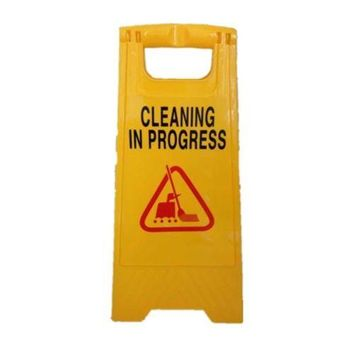 Caution Cleaning IN Progress Double Side Sign Warning Board Bright Yellow Plasti
