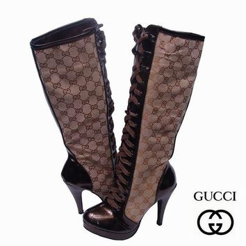 GUCCI Women Fashion Leather Strappy Tube in Boots Heels Shoes