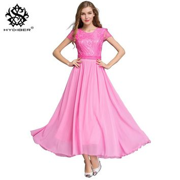 2018 new summer dress office Elegant Women short Sleeve Solid Chiffon Lace Dress Big Swing O-neck Evening Maxi Dress Plus Size