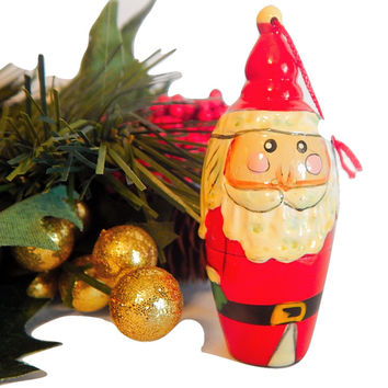 Santa Claus ChristmasTree Ornament Hand Painted Wooden Russian Style Father Frost Figurine