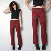 Plaid Tartan Pants // Wide Leg Pants // High Waisted // Size Small // Plaid Pants // Punk // Rock n Roll // Rocker