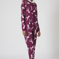 STAG PRINT FLEECE Onesuit