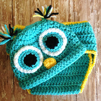 Crochet Owl Hat and Diaper Cover Set - Newborn to 6 months / Photo Prop / Baby Boy or Girl Gift