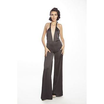 Stretch sating with plunging neckline jumpsuit