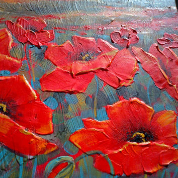 """RED POPPIES 48"""" Large Modern Original Painting Acrylic Painting Canvas Art Abstract Painting Abstract Art Floral Poppy Landscape"""