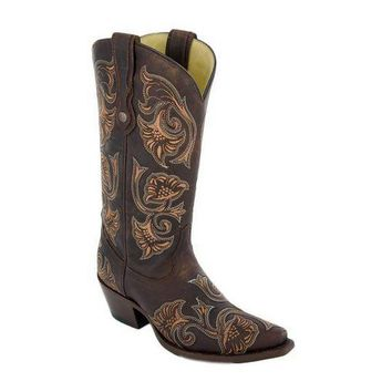 ICIKAB3 Corral Brown Floral Embroidered Leather Boots G1122
