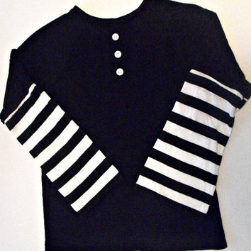 Puppet/Marionette Shirt, Black and White Long-Sleeve Raglan