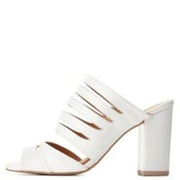 Qupid Strappy Peep Toe Mules by