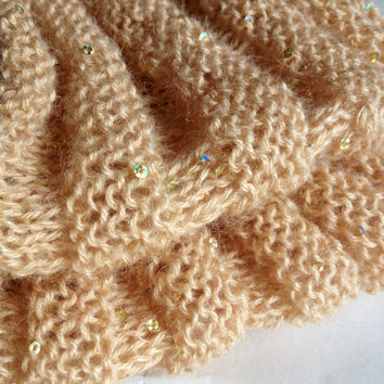 Handknit Cowl - Infinity Scarf - Mohair Wool Sparkle Cowl - Women Infinity Scarf - Beige Tube Scarf - Knit Scarf - Knit Cowl - Ladies Cowl