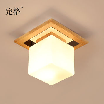 Single Head Wood Ceiling Entrance Corridor Balcony Bedroom Loft Cloakroom Square Log Glass Japanese Lights