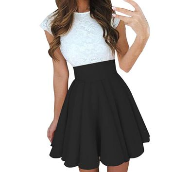 Sexy School Girls Short Skirts Womens Black A-Line Party Cocktail Mini Skirt Ladies High Waist Pleated Skater Skirt Saia Midi