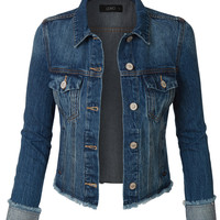 LE3NO Womens Vintage Long Sleeve Cropped Denim Jean jacket