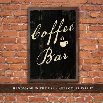 """Handmade coffee bar plaque framed in reclaimed wood. Approx. 13.5""""x19.5"""""""