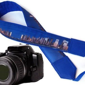 Blue camera strap. City Camera Strap. Photography. DSLR / SLR Camera Strap. For Sony, canon, nikon, panasonic, fuji and other cameras.