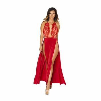 Maxi Length High Slit Dress with Eyelash Lace Detail
