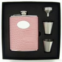 Visol Annabella Light Pink Snake-Skin Leatherette Deluxe Hip Flask Gift Set - 6 oz