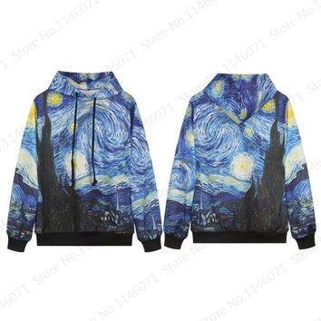 Van Gogh The Starry Night Hip Hop Hoodies Leisure Loose Skateboarding Sweatshirts Blue Long Sleeve Jumper Pullovers Men's Jacket
