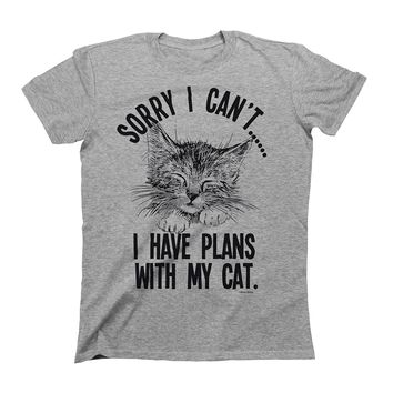 Sorry I cant..I Have Plans With My Cat Mens & Ladies Unisex Fit Slogan T-Shirt