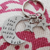 I love you to the moon and back key ring with stars