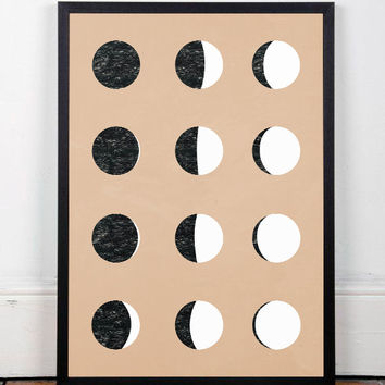 Moon art poster, Phases of the moon, Moon print, Contemporary poster, Scandinavian design, A4 poster, Moon wall art, Modern poster, Artwork
