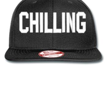 CHILLING EMBROIDERY HAT - New Era Flat Bill Snapback Cap