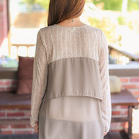 Ruffle Back Sweater - Taupe
