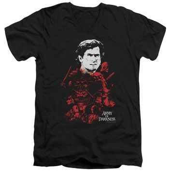 Army Of Darkness - Pile Of Baddies Short Sleeve Adult V Neck