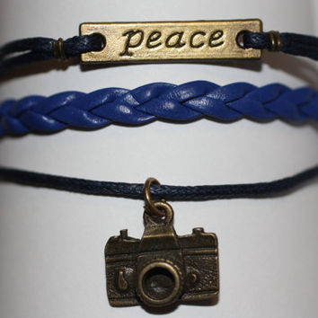 SHINE~ Handmade Peace Camera Charm Blue Leather Wedding Photographer Gift Multilayer Handcrafted Bracelet ilovecheesygrits