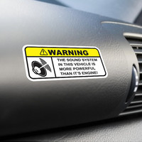 Sound System Warning Funny Sticker Vinyl Decal Dashboard Visor Sticker Subwoofer Woofer sticker Stereo Car Truck SUV Sticker JDM Sticker