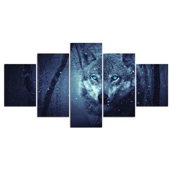5 panel animal Snow Wolf Canvas Pictures for living room wall art picture print