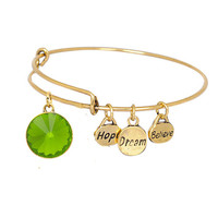 Believe Dream Hope Expandable Bangle Bracelet Birthstone Charm August Gold Plate