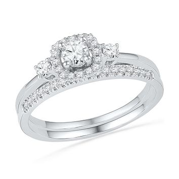10k White Gold Round Diamond Solitaire Halo Bridal Wedding Engagement Ring Band Set 1/2 Cttw