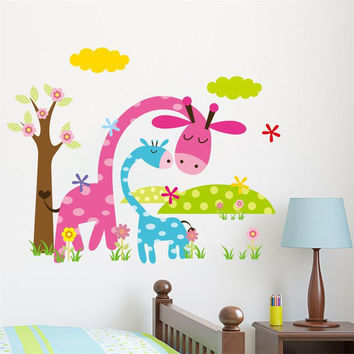 3D colorful cartoon animal zoo kids room decal wall stickers gifts Horse Beer Giraffe Elephant adesivo de parede for nursery