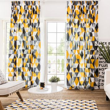 Drapes with Yellow Grey Abstract