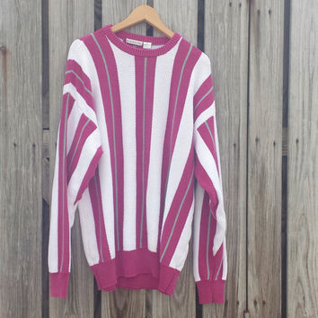 Vtg USA Made 1980's Men's Striped Sweater - Claiborne - White & Fuchsia - SZ XL