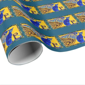 Winged Feline Hybrid Warrior Cat Design Wrapping Paper