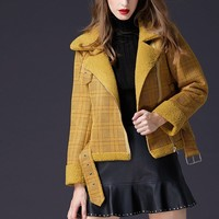 Plaid Faux Suede Moto Jacket