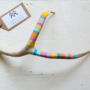 "Made to Order!!  Decoration LARGE 13"" Deer Antler Shed : Teal + Light Blue + Grey + Yellow + Gold + Pink  
