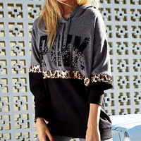 Women's Fashion Letter Print Round neck Long-sleeves Pullover Tops Sweater