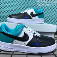 DCCK N020 Nike Air Force 1 Mid Three-Color Stitching Small Hook Causal Skate Shoes Black White Blue