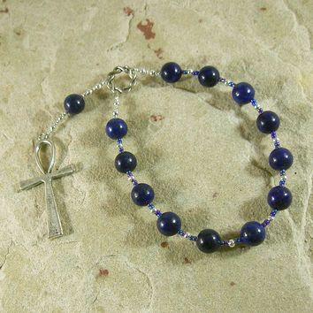 Ankh Pocket Prayer Beads in Lapis Lazuli: Egyptian Symbol for Life
