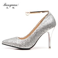 Fanyuan Women Pumps Bling High Heels Women Pumps Glitter High Heel Shoes Woman Sexy Wedding Party Shoes red  Gold Silver