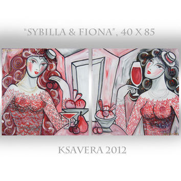 "Portrait Painting Beautiful Woman Modern Art diptych KSAVERA ""Sybilla"" Still life Erotica Lady Girl mid century two sisters black red white"