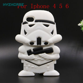 Star War Series Phone Case For iPhone 4 4S 5 5S 6 Plus New 3D Cartoon Darth Vader Clone Stormtrooper Back Soft Silicon Cover