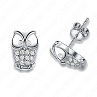 Night Owl Jewelry Genuine 925 Sterling Silver With Shiny Cubic Zirconia Gem Stone Animal Woman Stud Earrings
