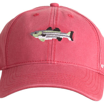 Striped Bass Needlepoint Hat, Red, Hats